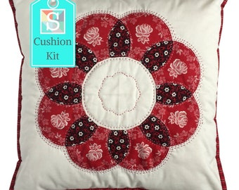 Flower Cushion Kit in Red Rose - Curved English Paper-pieced Cushion Kit, Handsewing, Patchwork Cushion Kit