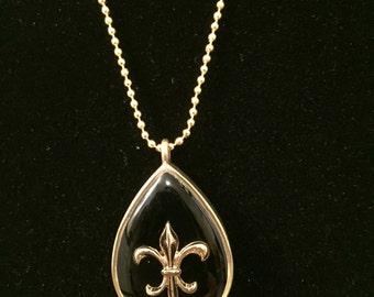 Black Fleur De Lis Necklace