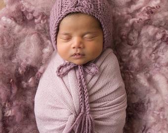Newborn bonnet photo prop Baby hat Girl chunky knit Purple Newborn photography wool Hand made knitted RTS item #6
