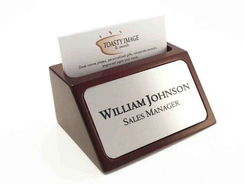 Desk name plate plaque business card holder mahogany color