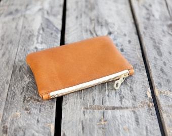 The MINI Pouch // leather zipper pouch //  COGNAC