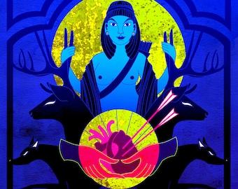 Under the Hunting Moon / Follow your Hart -  Artemis greek myth inspired illustration