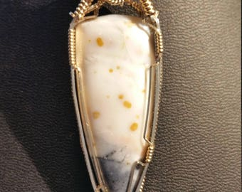 Dendritic Opal wire wrapped in 14K gold filled and sterling wire