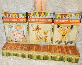 1950s Marx Super Circus Sideshow Stage with nice Bright Litho Tin Colors ,Antique Toy ,made in USA