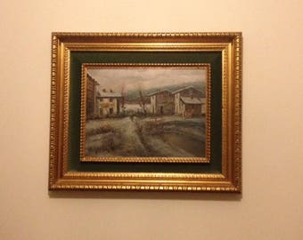 Original Vintage oil painting depicting  a French landscape