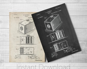 Camera Printables, Camera Patent, Photographer Gift, Photography Art, Brownie PP0126