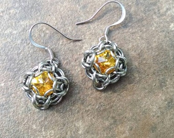 Celtic Labyrinth Swarovski Chainmaille Earring Set - Sunflower
