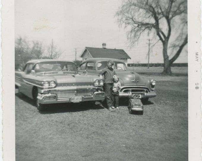 Vintage Snapshot Photo: Three Cars, 1958 [86683]