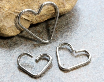 Heart daith Earring 18G,16G,Rook,Conch,Cartilage,Helix,Eyebrow,Tragus SS316L Surgical Steel Bendable Hoop, Sold as Single Hoop