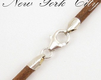 """3mm Natural Leather Cord Necklace Silver Clasp 14"""" inches - 36"""" inches Silver Clasp, You choose length. LCR0300NATS"""
