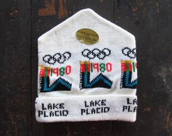 Vintage 1980 Olympics Knit Hat Lake Placid NOS Winter Cap White New York