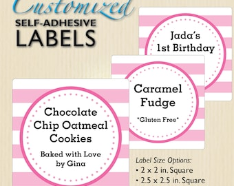 pink stripe bakery labels cookie packaging school bake sale church fundraiser birthday favors cupcake boxes personalized custom text