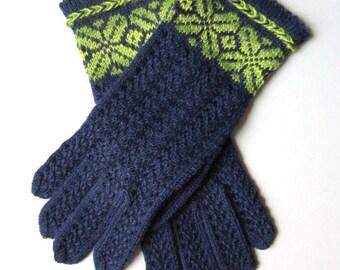 Hand Knit Wool Gloves for Women Blue Gloves Knit Lace Wool Gloves Womens Gifts Handmade Gloves Winter Gloves Fingerless Gloves