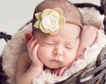 Felt Flower Headband for baby, Baby Headband Mellow Yellow & Ivory Flower Headband Duet newborn infant toddler teen adult Newborn Photo Prop