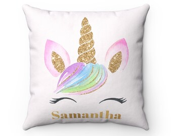 Pink & Gold Unicorn Pillow, Unicorn, Unicorn Gift, Unicorn Cushion, Unicorn Decor, Unicorn Nursery, Nursery Decor, Personalized Pillow.