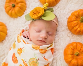 Organic cotton swaddle in Pumpkins and Squash, Watercolor. Fall, Autumn, Newborn Photos