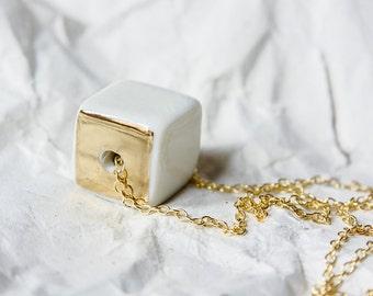 Porcelain Necklace, Porcelain Jewelry, Contemporary Necklace, Geometric Necklace, Ceramic Jewelry,  Handmade Ceramic Porcelain Jewelry, Cube