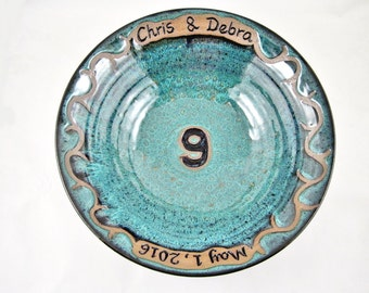 Personalized 9th Anniversary gift, Pottery ninth anniversary gift, customize with names and date, ninth wedding gift