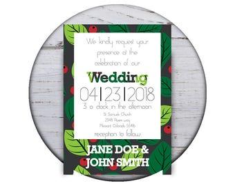 Custom Printable 5x7 Wedding Invitation - Leaves & Berries