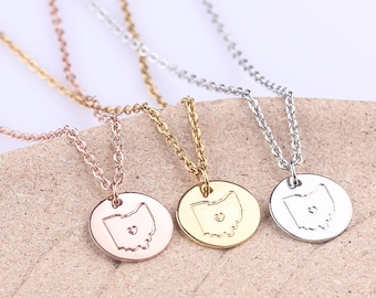Personalized Ohio necklace, Gold Ohio Disc Charm Necklace Rose Gold State Jewelry Map Pendant,Christmas, Valentines Gift