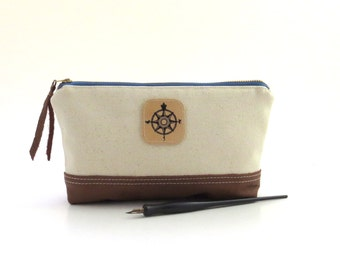 White canvas pencil case, canvas zipper pouch,  art supply pouch, canvas pencil bag, canvas leather pouch, canvas zipper bag, travel pouch