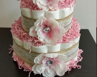 Diaper Cake Baby Shower Gift Centerpiece Shabby Chic