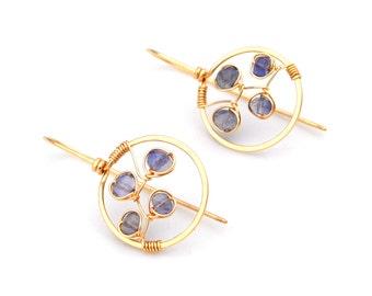 Bluebonnet Earrings, Small Gold Hoop Earrings, Violet Blue Iolite Hoop Dangles, Hammered Gold Hoops