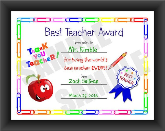 Certificate best teacher kids certificate printable pdf certificate best teacher kids certificate printable pdf download print your own certificate instant download printable yadclub Choice Image