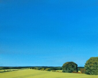 English countryside, English landscape, landscape, summer painting, contemporary painting, acrylic painting, fields, rural, countryside