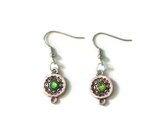 Green and Silver Earrings - Dangle Earrings