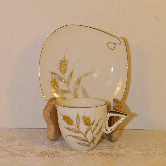 Golden Wheat Cup & Saucer Set Vintage Gold Accented China Cup and Saucer Mid Century Modern Square Saucer Atomic Art Deco Art Nouveau