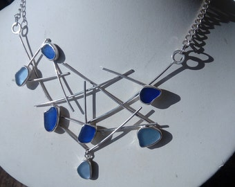 Statement Modern Blue Sea Glass Necklace