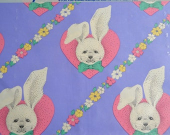 Vintage Easter Bunny Hearts Wrapping Paper - 2 Full Sheets