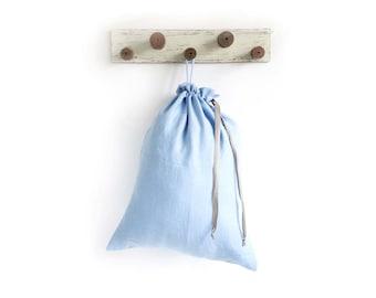 Blue Dirty Clothes Bag - Large Laundry Bag - Linen hanging hamper