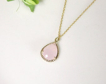 Pink crystal pendant necklace, Gorgeous Drop ,stone in twisted bezel, light pink, B0083-G