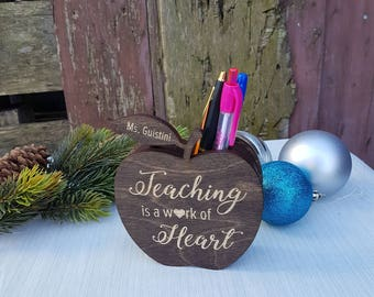 Teacher gift etsy teacher pencil holder personalized teacher gift ideas wooden pencil holder wooden apple gift negle Images