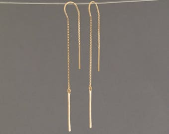 Gold Fill Thin Hammered Bar Box Chain Threader Earrings
