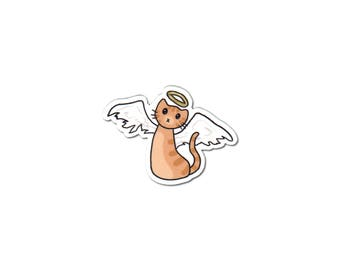 Angel Cat Sticker, Phone Sticker, Cat Laptop Sticker, Car Sticker, Bumper Sticker, Vinyl Sticker, Cute Cat, Cat with Wings