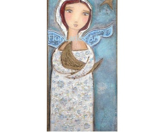 Angel Hugging the Moon -  Print from Painting by FLOR LARIOS (5 x 10 INCHES)