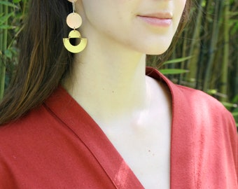 Geometric Earrings, Half Moon, Boho Earrings, Brass Earrings, Gold Fill, Large Earrings, ANDIE