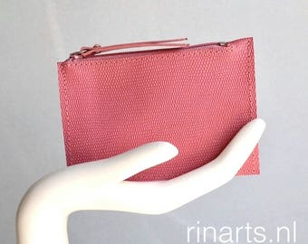 Leather wallet / small purse / coin case / card holder ZIPPY in pink lizard skin print leather. Leather slim wallet. Leather coin wallet