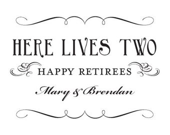 Retirees Sign Custom Your Names Happy Retirement Home Decor 5x7 or 8x10