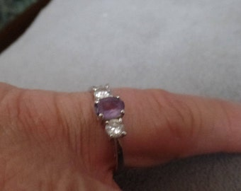 Sterling Silver Ring Size 10 1/4 Amethyst and Cubic Zirconia marked 925