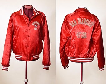 Vintage 1980's San Francisco 49ers football Chalk Line quilted red and gold nylon bomber stadium jacket size large
