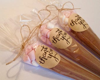Hot chocolate wedding favours.