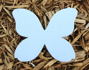 """10, 4"""" Butterfly Plantable Seeded Paper Shape Favors 3.2"""" x 4"""", Available in 39 Colors"""