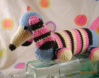 sausage dog , hand made , crochet,stripes