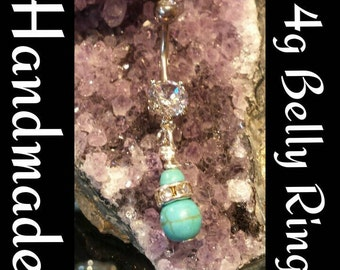 Turquoise Love belly ring
