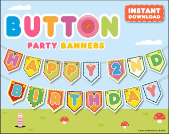 Personalized Custom Button Happy Birthday Party Banner. Hey! ANY name or age! flag / pennant / bunting
