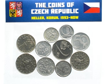 Lot of 10 Mixed Czech Coins Czechia Hellers Koruna Koruny Circulated 1993-Now